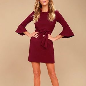 Lulus Last Love Song Burgundy Tie-Waist Dress